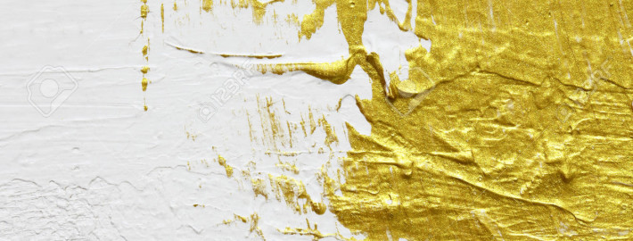 gold textured abstract painting on white background